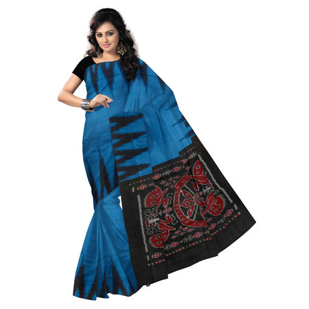 OSS033: Temple design Blue and Black Handloom Cotton Saree