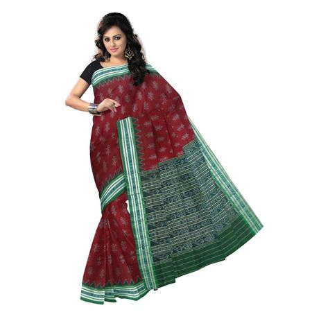 OSS9084: Maroon with Green handwoven Cotton saree.