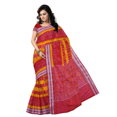 OSS232: Orange with Red color Sambalpuri Cotton Saree online shopping.
