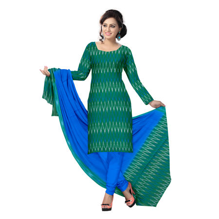 OSSTG6244: Unstitched Women' s Handwoven Green with Blue Pochampally cotton Dress Material with same Dupatta