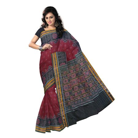 OSS408: Maroon color hanwoven Cotton Ikat Saree of India with best price