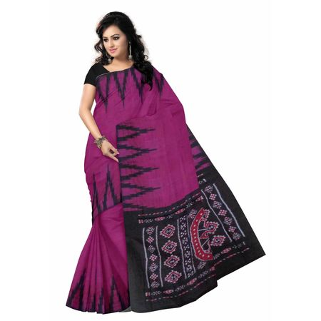 OSS292: Temple design magenta color handloom Cotton Saree of odisha.