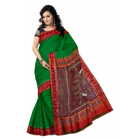 OSS5096: Green color Traditional Pasapalli Handloom Silk Saree of sonepur