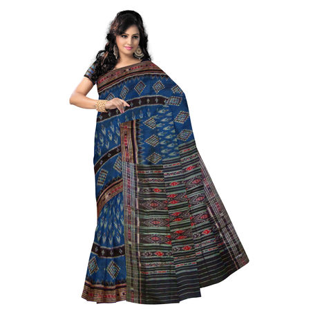 OSS7010: Traditional Handwoven Blue color cotton saree for puja wear