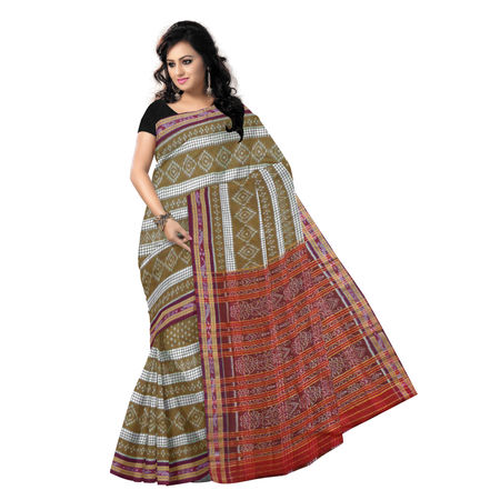 OSS7452: Traditional Brown color handwoven cotton sarees for puja wear