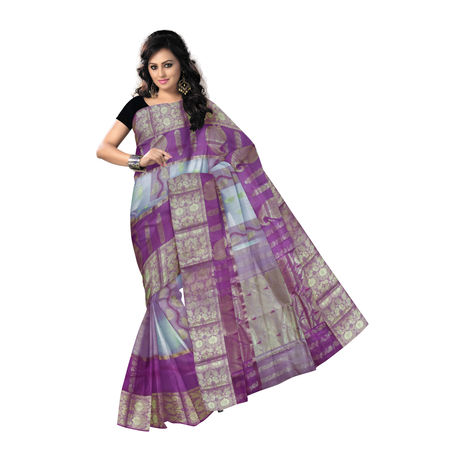 OSSWB9034: Designed tusser handloom West Bengal silk Saree