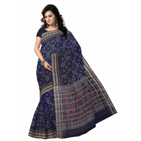 OSS7548: Navy Blue Handwoven cotton sarees for office wear.