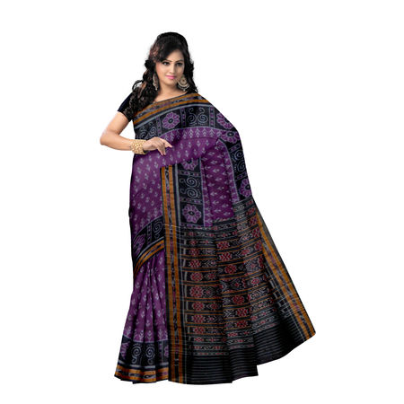 OSS7582: Purple with Black color laxmi feet design Indian hanwoven cotton sarees