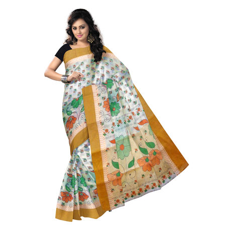 OSSWB9039: Block Print West Bengal handloom Cotton Saree.