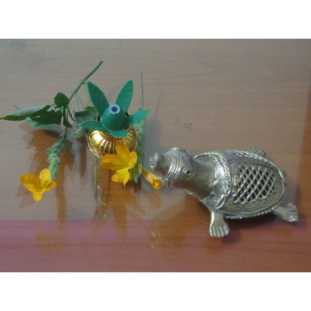 OHD024: Dhokra Tortoise for decorating near your bedside lamp