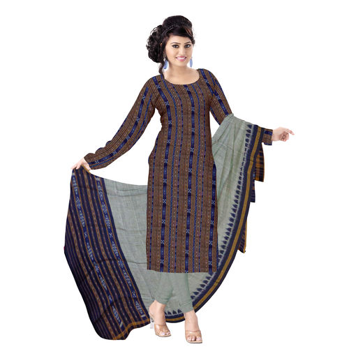 OSS236: Beautiful Traditional Dark Navy Blue & Grey Traditional Ikat(tie & dye) Cotton Dress Material.