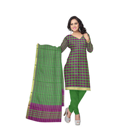 OSSTG6227: HandLoom Pure Soft Green with Pink Mangalagiri Ladies Cotton Dress Material Sets