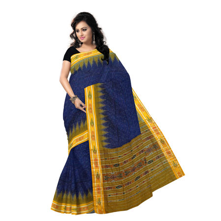 OSS245: Navy Blue with Orange Handloom cotton sarees, navy blue