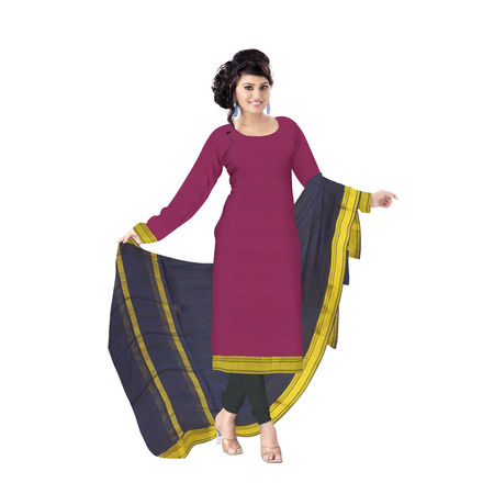 OSSTG6229: Handwoven Maroon and Deep Navy Blue Mangalagiri Cotton Dress Material