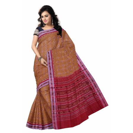 OSS7402: Light Brown handwoven cotton sari of odisha for office wear