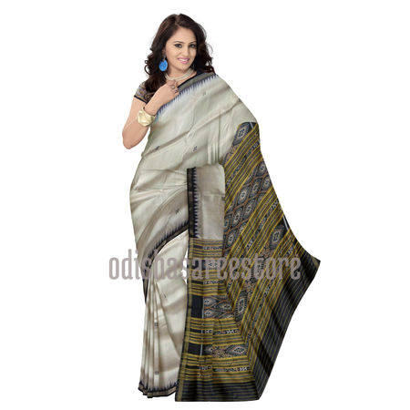 OSS5066: Offwhite Handwoven Ikat(Tie and Dye) silk saree of Odisha for puja wear