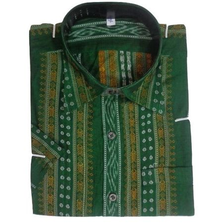 OSS8040: Green color sambalpuri handloom Cotton Shirt