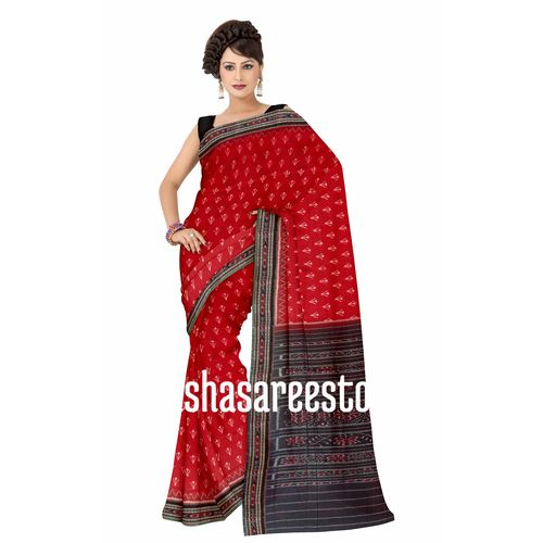 OSS276: Trisul design Special Body Bandha Red and White Cotton Saree