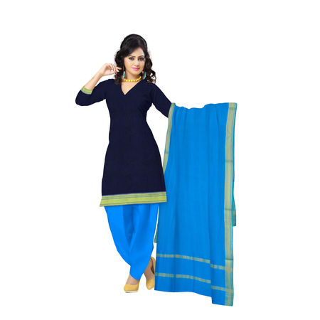OSSTG6233: HandLoom Navy Blue with Sky blue Mangalagiri Ladies Cotton Dress Material Sets