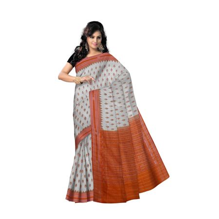 OSS9062: Offwhite with orange handwoven cotton sarees of odisha
