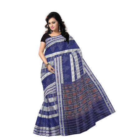 OSS7323: Check design Ink Blue with White sambalpuri cotton saree for mother in law for puja wer