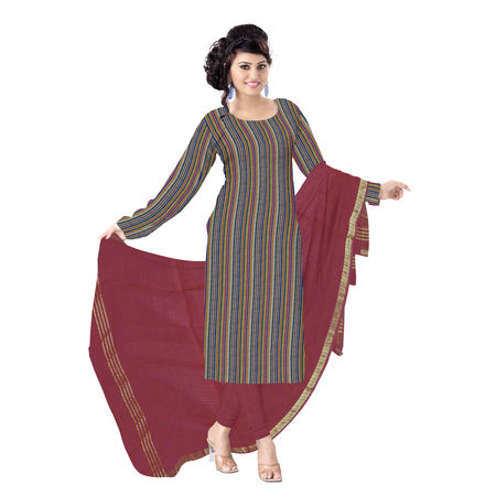 OSSTG6226: Handloom Pure Navy Blue with Multi color Mangalagiri Cotton Dress Material