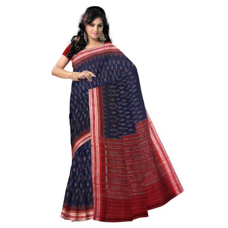 OSS948: Blue Handwoven Sambalpuri ikat sarees of odisha for puja wear