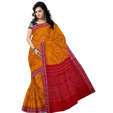 OSS6181: Traditional Deep Orange handloom Tarabali designe cotton sarees