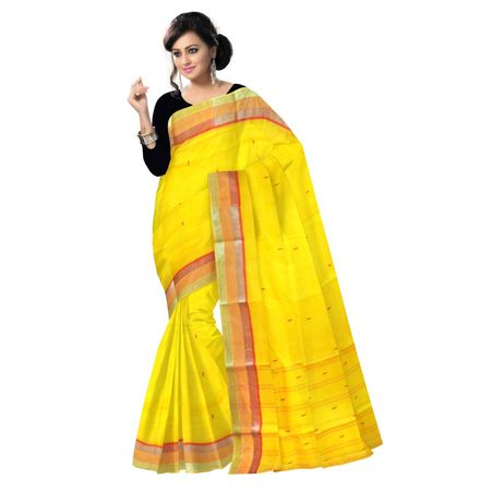 OSSWB90018: Yellow with Red border cotton saree for festival wear.