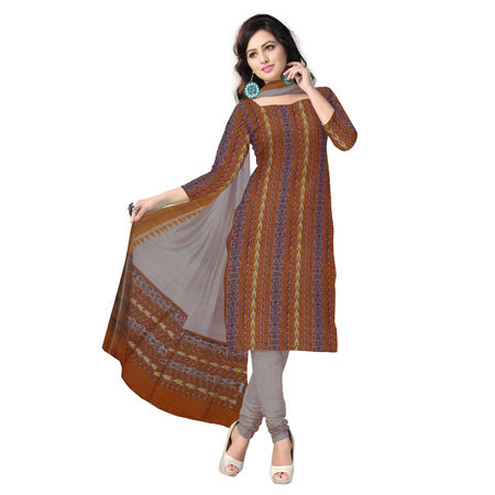 OSS1039: Beautiful Traditional Dark Brown & Light Brown Traditional Ikat(tie & dye) Sambalpuri Cotton Dress Material.