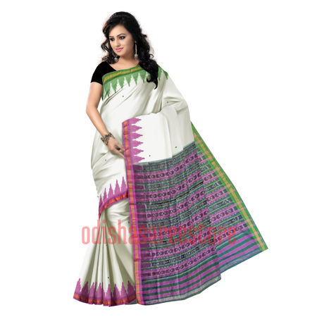 OSS7522: Plain with Buti design White color sambalpuri Handwoven cotton sarees online shopping