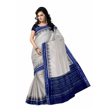 OSS7526: White with Ink Blue Cotton Indian handloom saree