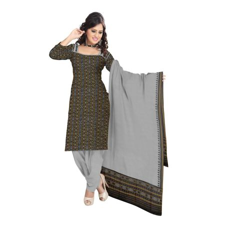 OSS9047: Traditional Black with Grey Ikat(tie and dye) cotton dress Material.