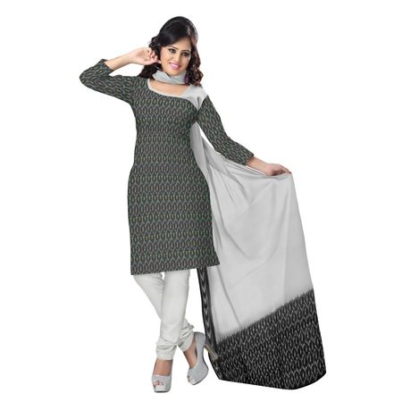 OSS6199: Grey color Pure Cotton Sambalpuri dress materials for Girl's clothing