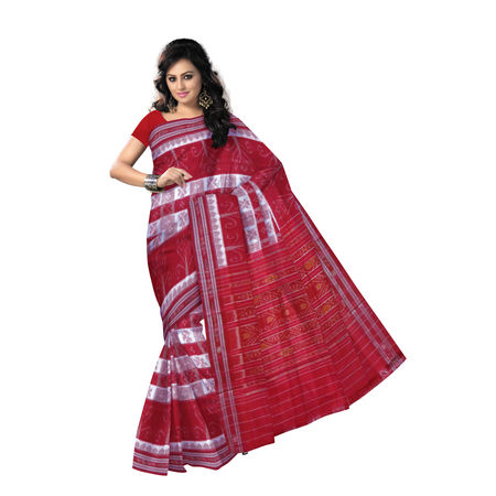 OSS7539: Red and White Handloom Cotton New Saree for puja wear.