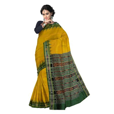 OSS5068: Yellow color handloom SIlk saree for Bridal wear