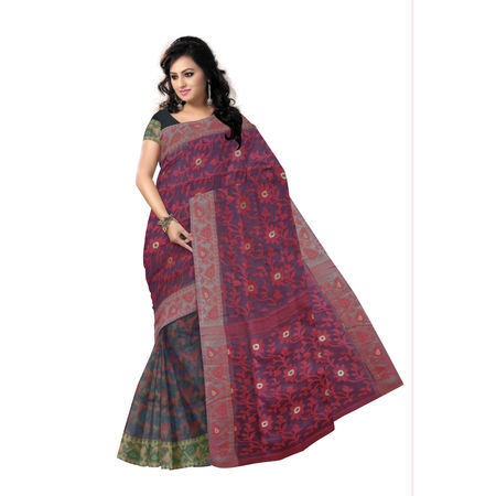 OSSWB9049: Ethnic Black-Maroon Combination Dhakai Jamdani Saree