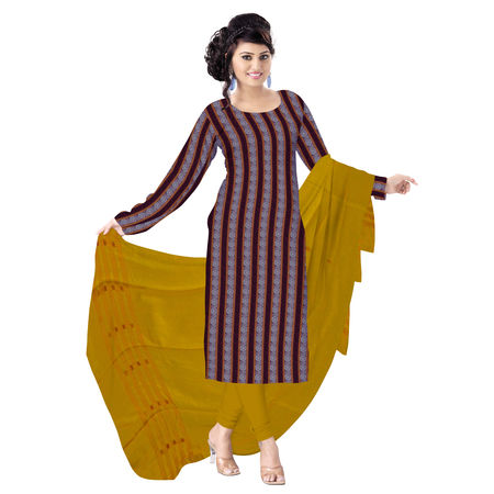 OSS1031: Beautiful Traditional Dark Maroon & Orange Traditional Ikat(tie & dye) cotton Dress Material