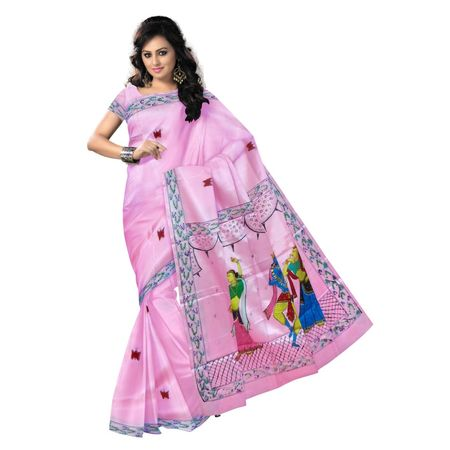 OSS300100: Light Pink color Handpainted Synthetic Silk sarees for party wear.