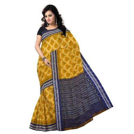 OSS9033: Light Yellow Golden with Ink blue handloom cotton sraees for puja wear