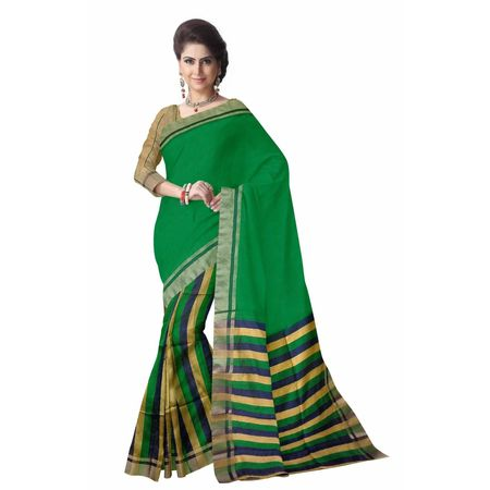 OSSWB039: Green Silk sari online shopping.