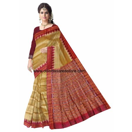 OSS3280: Beige color handwoven temple design Silk saree for puja wear