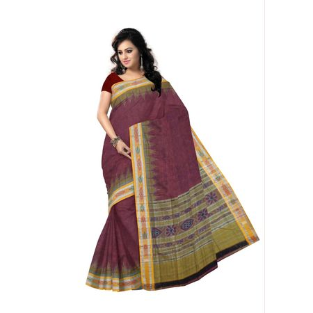 OSS143: Maroon color Tanta handloom Saree Cotton without Blouse best in India