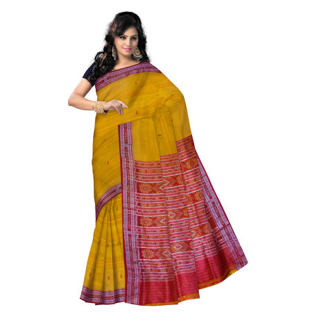OSS5080: Yellow Silk Saree with fish motif's on border and Aanchal.