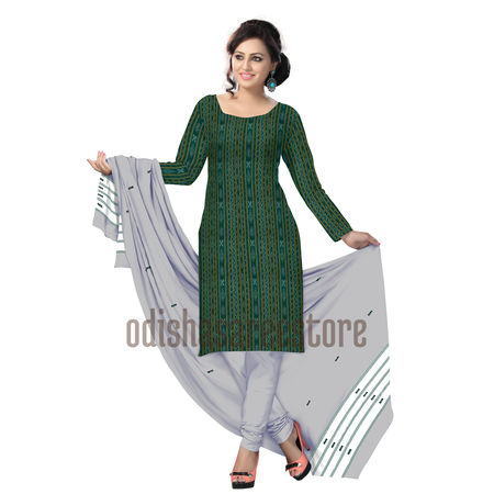 OSS1035: Green with White Khandua Ikat Dress for Women in India Online