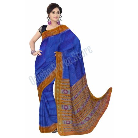 OSS5026: Blue color IKAT Silk Sari made in Orissa for party wear
