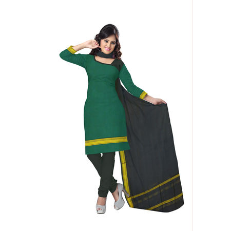 OSSTG6224: Green With Black Handwoven Ladies cotton Dress Material.