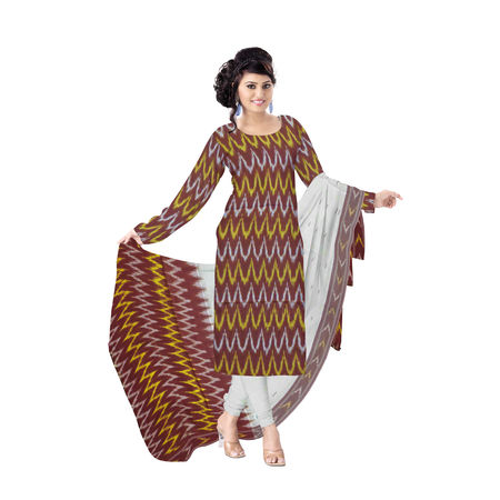 OSSTG6242: Unstitched Women' s Handwoven Maroon with White Pochampally cotton Dress Material with same Dupatta