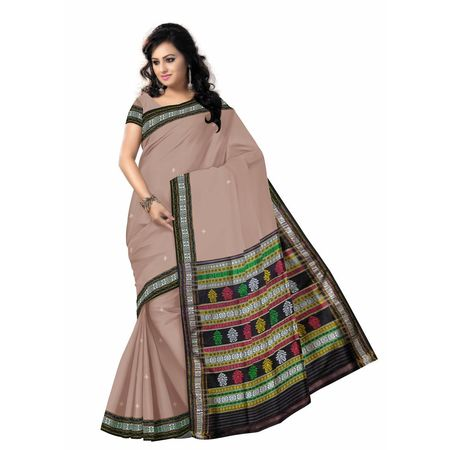 OSS5058: Light Peach color Hanwoven Khandua Silk with Embroidery design sari for gift your daughter in this puja.