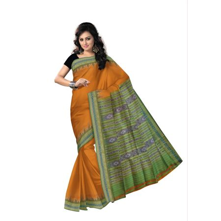 OSS507: Temple motif handwoven orange color Silk sari from sambalpur